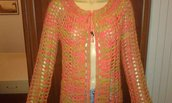 Cardigan donna all'uncinetto lana alpaca tg L