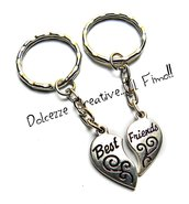 Portachiavi mezzo cuore - Best Friend - handmade idea regalo miglior amica - amicizia