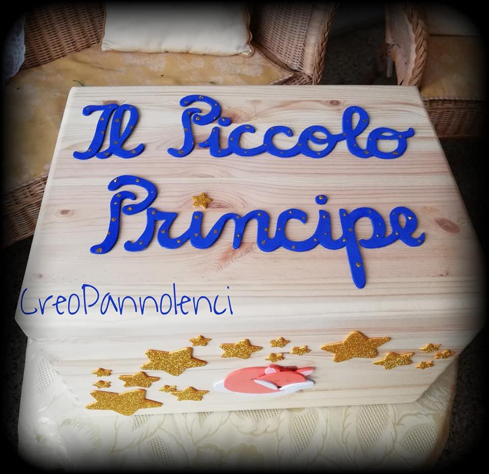 """Bauletto in Legno """"Piccolo principe"""" per torta di pannolini o scatola primi ricordi"""