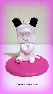Spank in fimo, cake topper spank, cartoni anni '80, miniature, statuine, hello spank, regalo compleanno