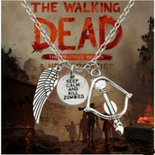 Ciondolo the walking dead zombie film collana arco frecce ali d'angelo