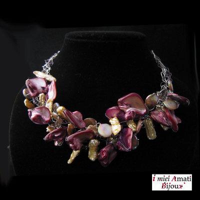 Collana perle in formazione, perle coltivate, madreperla