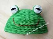 Cappellino/cappello neonato/bambino rana/ranocchio fatto a mano - cotone - uncinetto