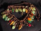 collana con foglie e perle di vetro, rame e ottone