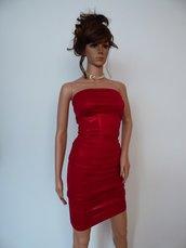 Abito elegante in jersey rosso con elastan