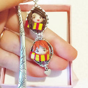 SALDI SALE Segnalibro bookmark Hermione e Ron, Harry Potter, doll, grifondoro, fatto a mano, fanart