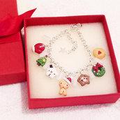 Bracciale super natalizio, omino biscotto, bracelet, fimo, clay