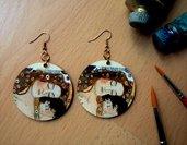 MATERNITA'. Orecchini in legno dipinti a mano. La Maternità di Klimt. Arte da indossare. Regalo di compleanno. Idea regalo