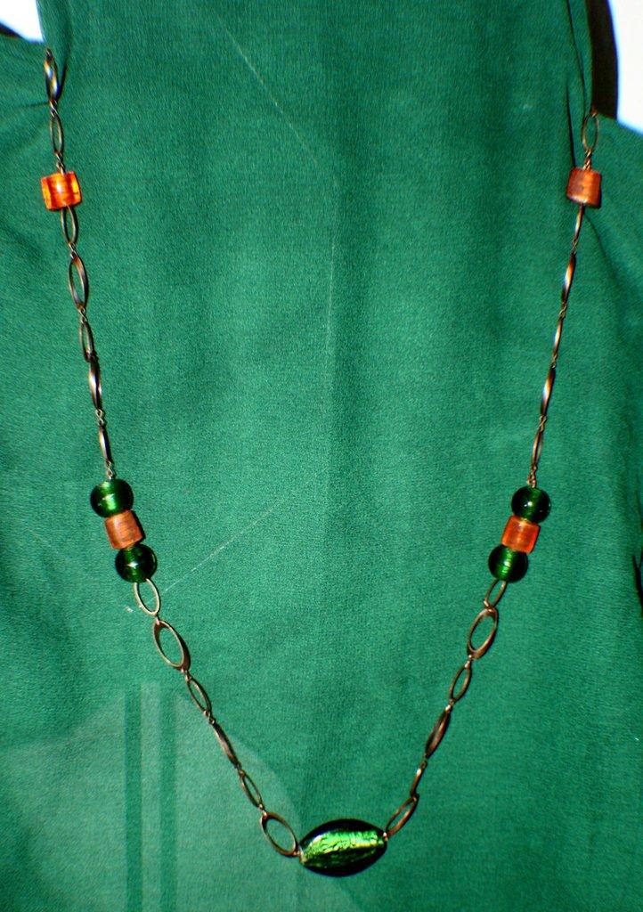 Collana rame, verde e arancio