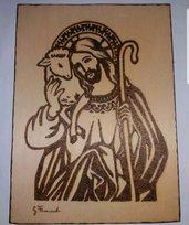 Quadro pirografato a mano.  Gesù e agnello
