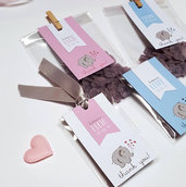 bomboniere bigliettini battesimo elefantino // sacchetti confetti // buste per confettata
