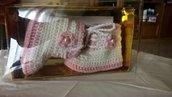 Scarpette - stivaletti in lana con bordo tipo pelliccia - allacciati - mis. 3/6 mesi -