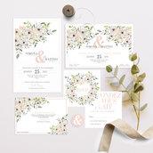 INVITO MATRIMONIO floreale/ SET coordinato partecipazioni  nozze/ inviti, save the date, cerimonia e ricevimento