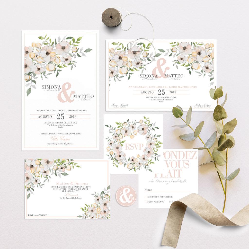 Inviti Matrimonio Azzurro : Invito matrimonio floreale set coordinato partecipazioni