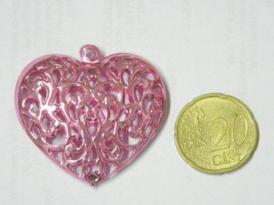 1 Charm grande cuore rosa
