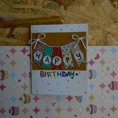Biglietto di compleanno colorato con i washitape