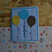 Biglietto di compleanno con palloncini • Colori maschili