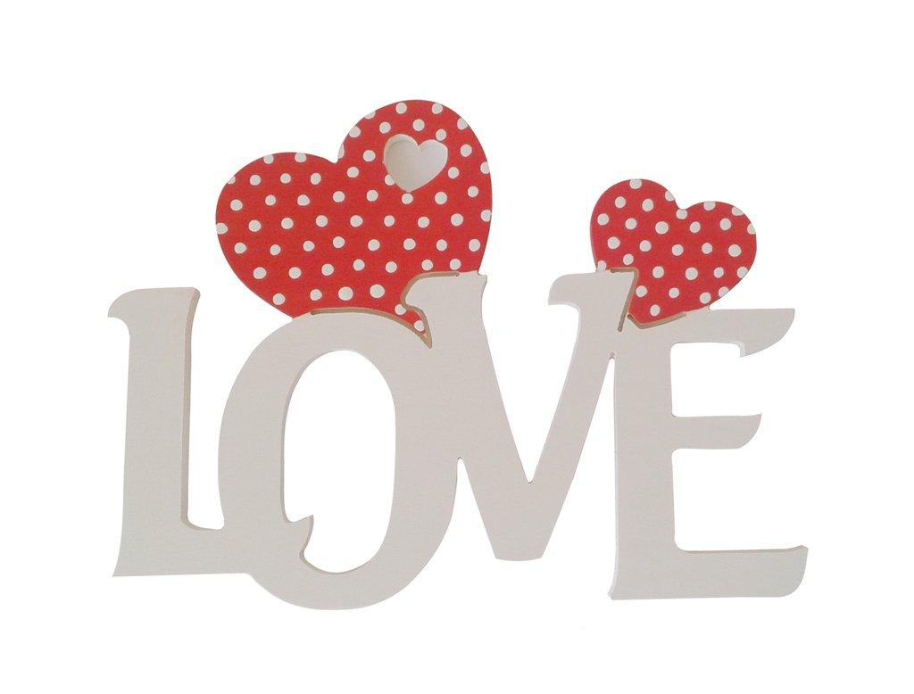 Love scritta in legno con cuori Fai da te San Valentino cm L 24 x 18 h spessore 8 mm (bianco con cuore rosso)