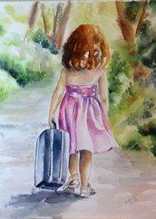 Acquerello su carta - raffigurante una bambina - La Valigia Blu