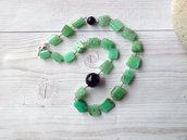 Collana in Crisoprasio, in stile rosario, fatto a mano. Collana artigianale con grandi pietre di Crisoprasio naturale. Spedizione gratuita