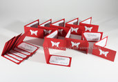 Set di 15 biglietti bigliettini rossi con farfalla per confetti - Laurea o Cresima