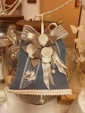 CAMPANA decorativa in panno colore carta zucchero