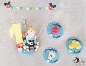 Bomboniere calamite e cake topper primo compleanno manine, scarpette, pantaloncini topolino