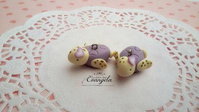 Baby Tartaruga lilla ciondolo fimo fatto a mano kawaii minuteria charms bigiotteria