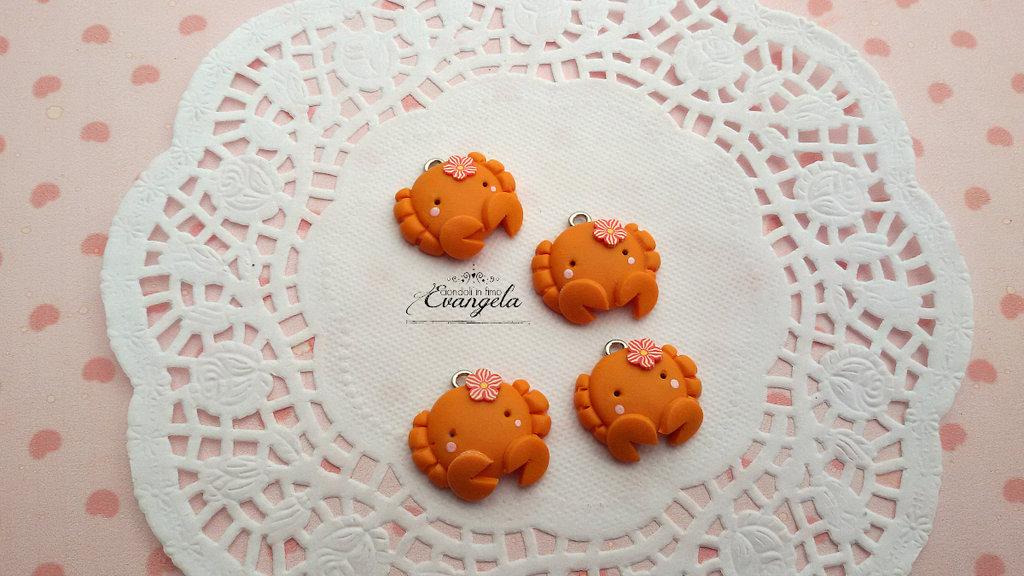 Granchio arancione kawaii ciondolo fimo bomboniere minuteria charms bigiotteria fai da te
