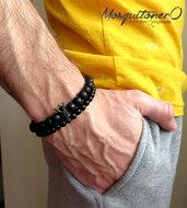 Bracciale uomo corona in Cubic Zirconia bianchi metallo nero e perle in agata