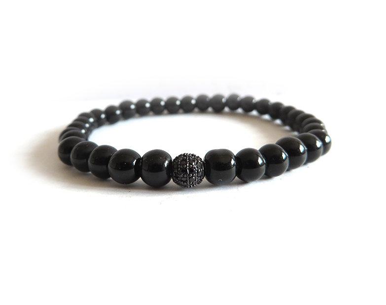 Bracciale uomo Perla in Cubic Zirconia metallo nero e perle in vetro