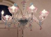 Lampadario Ca'rezzonico con 4 o più luci, diametro 90 cm x 100 cm ( altezza ), trasparente rosa e blu colore, in vetro soffiato