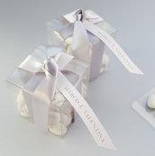 Bomboniere matrimonio, battesimo / scatoline confetti, fiocco nastro raso / argento, rosa, bianco/ omaggi fai da te