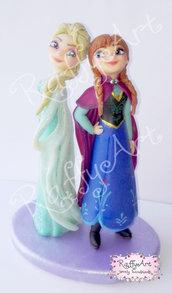 Cake Topper Frozen Anna ed Elsa - vers. 2 (personalizzabile)