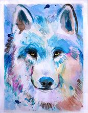 Ritratto lupo acquerello dipinto a mano