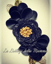 Fascia per capelli fiori black & gold