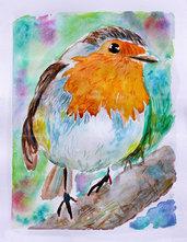 Acquerello uccellino pettirosso dipinto a mano