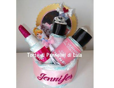 Torta di Pannolini Pampers Trousse Smalto Rossetto + bavaglino personalizzato nascita battesimo femmina rosa