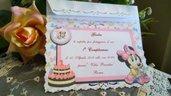 Invito 1 Anno Personalizzato Minnie completo di busta traforata