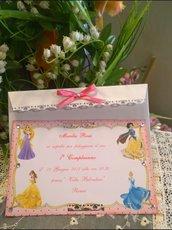 Invito Personalizzato 1 Anno Principesse
