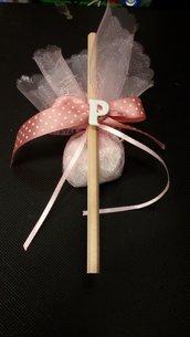 bomboniera sacchetto con matita iniziale e mezza perla