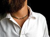Collana uomo Agata Pirite e argento. Collana da ragazzo in agata muschiata. Collana artigianale da uomo in argento e pietra