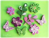 Segnaposto con calamita fiore e farfalla, bomboniera per compleanno, magnete farfalla, calamita fiore