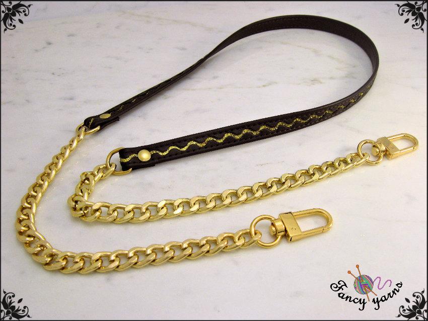 Tracolla per borsa lunga cm.85 - similpelle marrone con glitter oro, catena e moschettoni oro