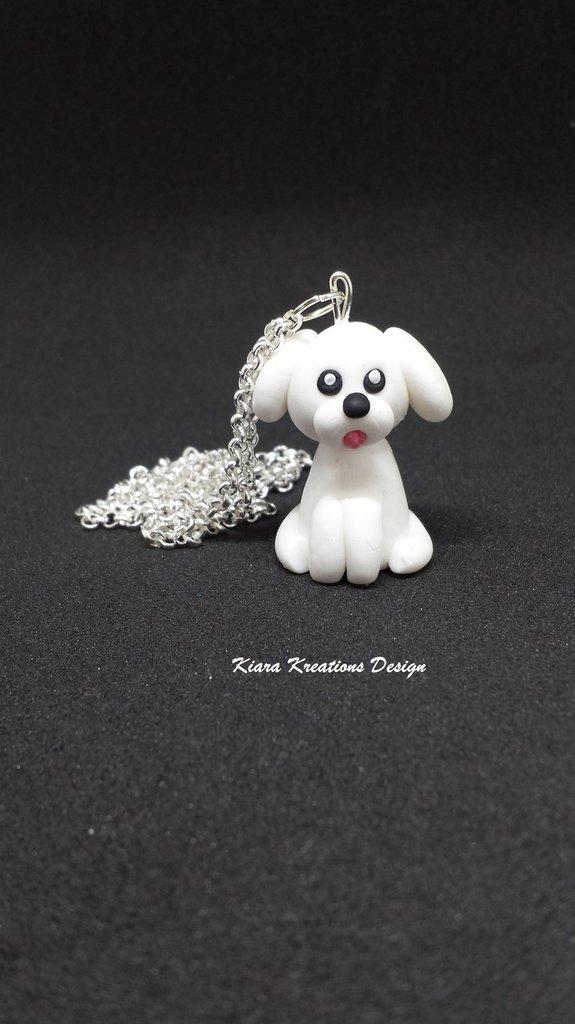 Collana in fimo barboncino, kawaii, miniature, regalo compleanno, bolognese, regalo cane, appassionati di cani, gioielli animali