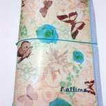 Astuccio KALLIDORI per traveler's notebook  in gomma eva e carta decorativa beijge e rose turchese fatto a mano
