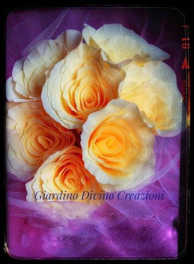 Matrimonio, bouquet, fiori fatti interamente a mano, tulle feste