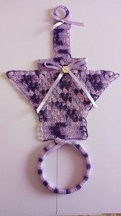 Porta asciugamani  uncinetto multicolor in cotone  cucina bagno viola
