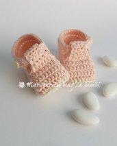 Scarpine alla bebè/scarpine neonata - cotone rosa - fatte a mano - uncinetto