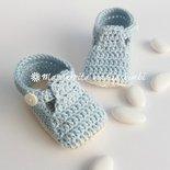 Scarpine alla bebè/scarpine neonato - cotone azzurro - fatte a mano - uncinetto